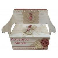 Κουτί Βάπτισης Παγκάκι - Θρανίο με Φλαμίνγκο κωδ.8991